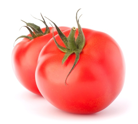 Two tomato vegetable isolated on white background cutout photo