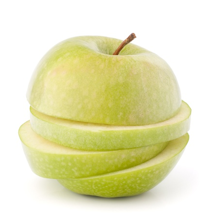 Green sliced apple isolated on white background cutout photo
