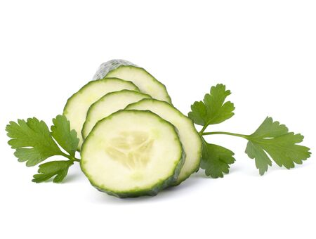 Cucumber slices  isolated on white background cutout photo