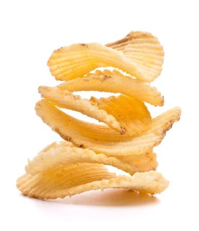 nosh: potato chips isolated on white background