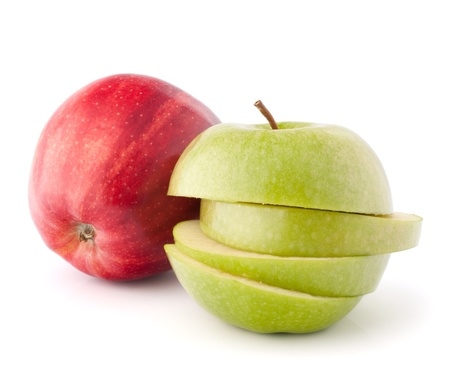 coherent: Red and green sliced apples isolated on white background cutout