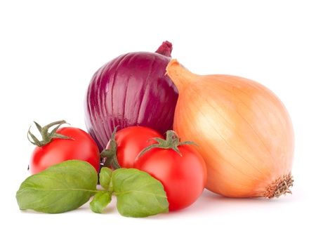 Onion, cherry tomato and basil herb leaves still life isolated on white background cutout photo