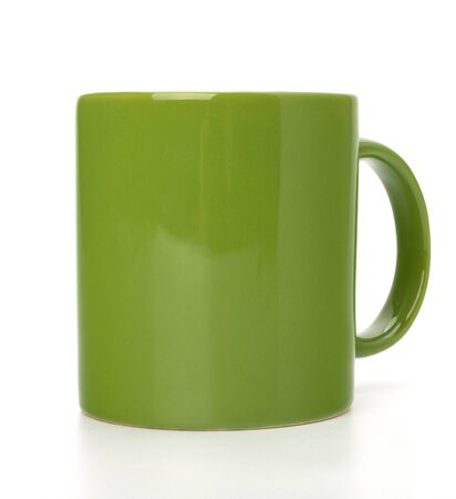 Green tea mug or cup isolated on white background cutout photo