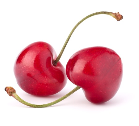 Two heart shaped cherry berries isolated on white background cutout photo