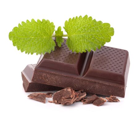 Chocolate bars stack isolated on white background photo