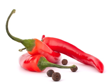 Hot red chili or chilli pepper and black pepper isolated on white background cutout photo