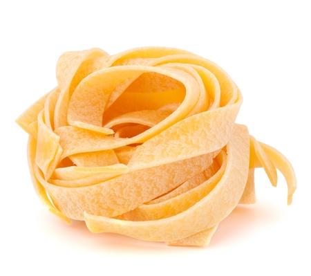 Italian pasta fettuccine nest isolated on white background