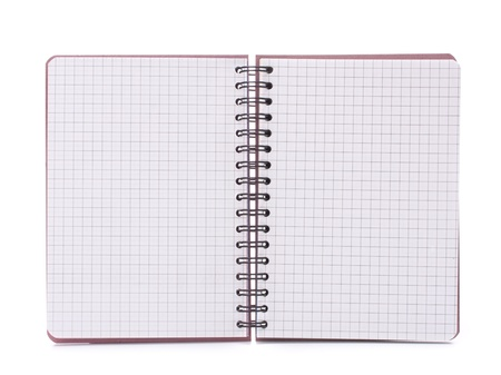 Open blank checked notebook isolated on white background cutout photo