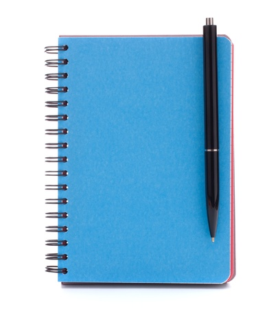 Blue cover notebook with  pen isolated on white background cutout photo
