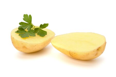 New potato and green parsley isolated on white background close up Stock Photo - 14498203