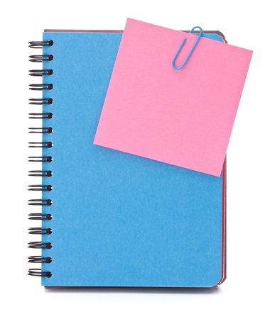 Blue notebook with notice papers isolated on white background cutout photo