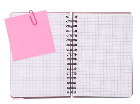 Blank checked notebook with notice paper isolated on white background cutout photo