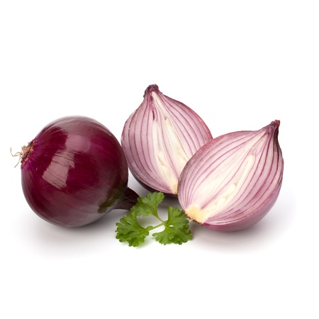 onion isolated: Red sliced onion and fresh parsley still life isolated on white background