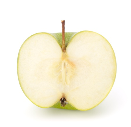green apple half isolated on white background cutout photo