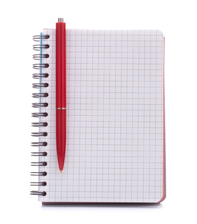 Open blank checked notebook with red pen isolated on white background cutout photo