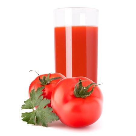 Tomato juice glass isolated on white background photo