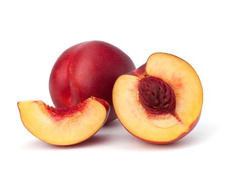 velvety: Nectarine fruit isolated on white background