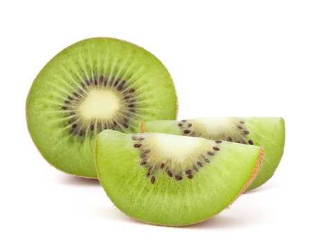Kiwi fruit sliced segments isolated on white background cutout photo