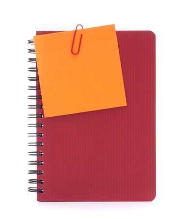 Red notebook with notice papers isolated on white background cutout photo