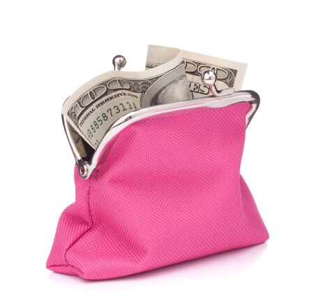 Purse with hundred dollar banknote isolated on white background cutout photo