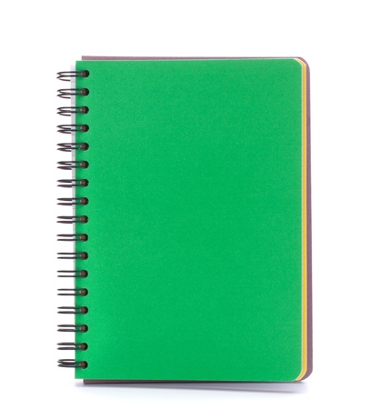 Green notebook isolated on white background cutout photo