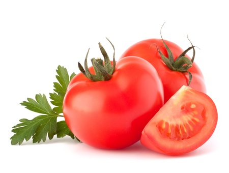 Tomato vegetables and parsley leaves still life isolated on white background cutout Reklamní fotografie