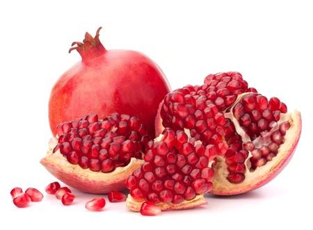 熟したザクロの果実は白い背景の切り欠きに分離