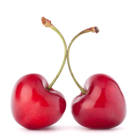 Two heart shaped cherry berries isolated on white background cutout Stock Photo - 15093393