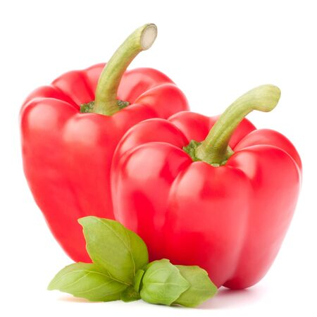 Sweet red pepper and basil leaves still life isolated on white background cutout photo