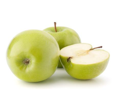 manzana verde: Manzana verde aislado en el recorte de fondo blanco Foto de archivo