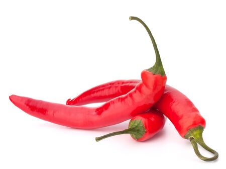 gourmet food: Hot red chili or chilli pepper isolated on white background cutout