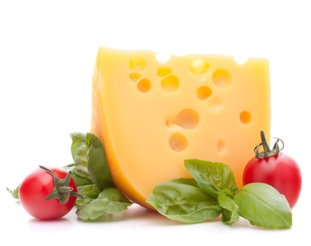 Cheese and basil leaves still life  isolated on white background cutout Stock Photo - 15514695
