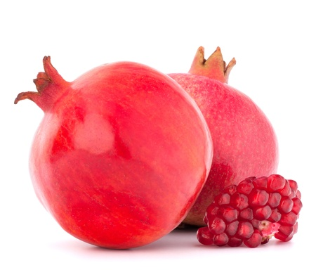Ripe pomegranate fruit isolated on white background cutout photo