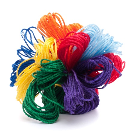 Color threads bunch isolated on white background cutout photo