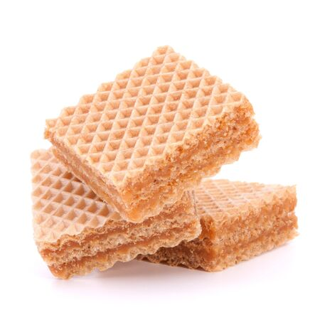 Wafers or honeycomb waffles isolated on white background photo