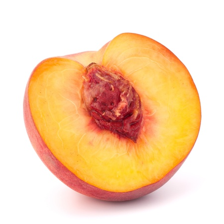 nectarine: Ripe peach  fruit isolated on white background cutout