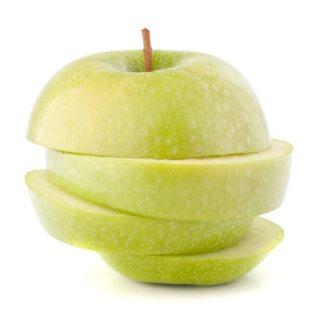 coherent: Green sliced apple isolated on white background cutout