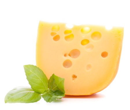 Cheese and basil leaves isolated on white background cutout photo