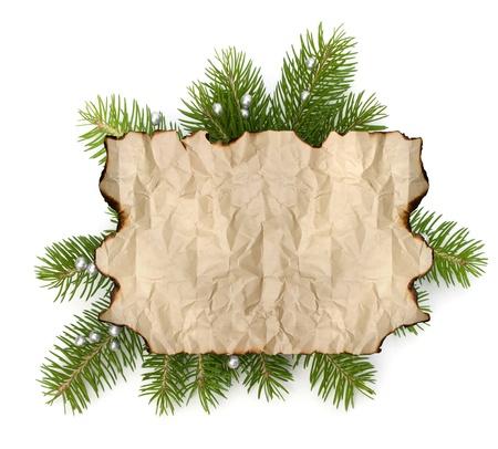 分離されたクリスマス ツリー ブランチの背景にコピー スペースを持つ古い羊皮紙紙