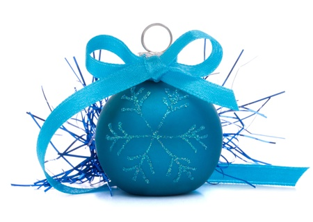 religious event: Blue Christmas ball isolated on white background cutout