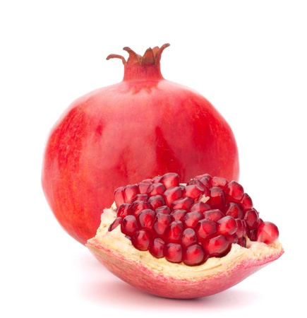 ホワイト バック グラウンド素材に分離された熟したザクロの果実