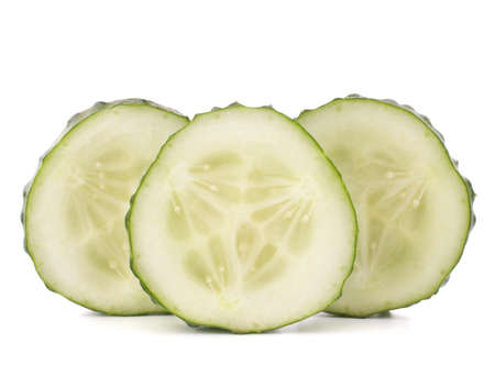 cucumber vegetable slices isolated on white background cutout photo