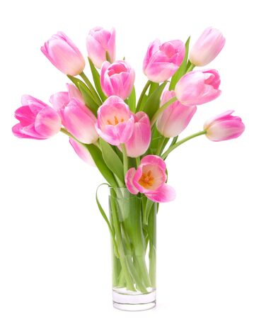 flower vase: Pink tulips bouquet in vase isolated on white background