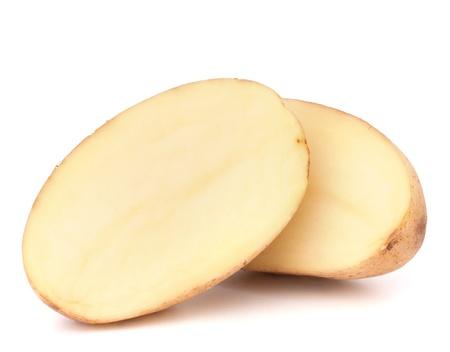batata: Patata en rodajas aislado en el fondo blanco recorte