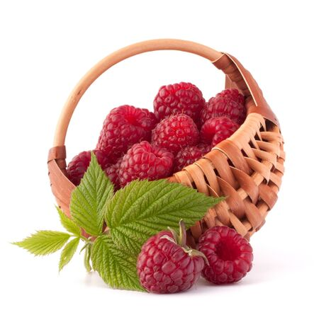 Ripe raspberries in basket isolated on white background cutout photo