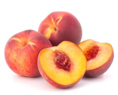 熟したモモ果実の白い背景の切り欠きに分離 写真素材