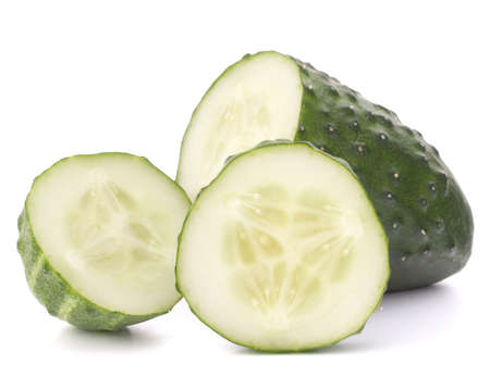 Sliced cucumber vegetable isolated on white background cutout photo