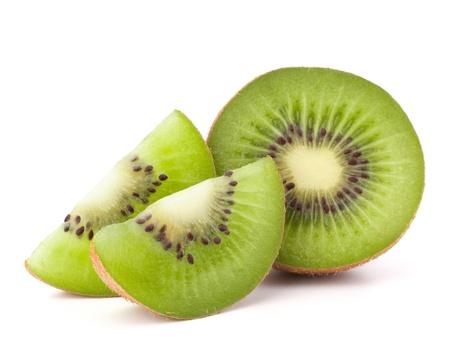 Kiwi fruit sliced segments isolated on white background cutout