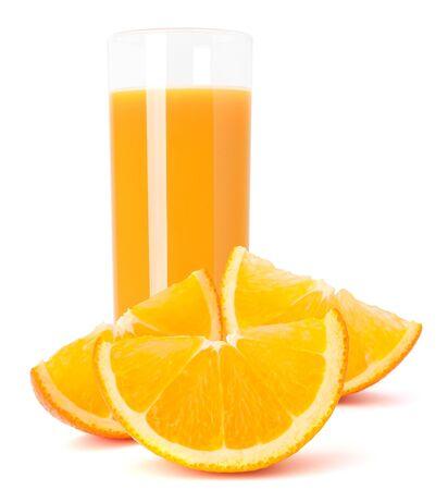 Juice glass and orange fruit isolated on white background cutout Stock Photo - 17110297