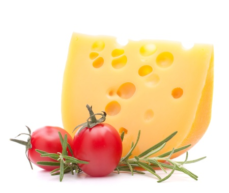 Cheese and cherry tomato isolated on white background cutout photo